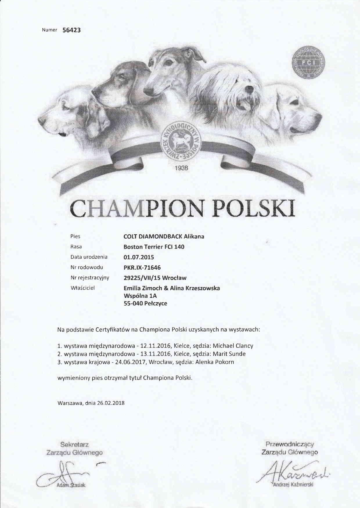 Colt Diamondback Alikana polnischer Champion
